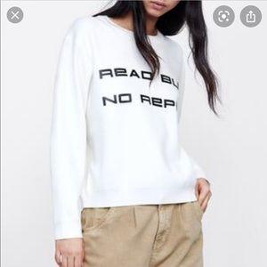 ZARA   White Crop Sweatshirt READ BUT NO REPLY